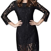 Dahlia Women's Petite Long Sleeve Floral Lace Sheath Dress, Black