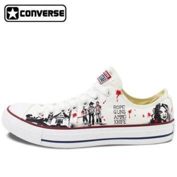 DCKL9 2017 Low Top Converse All Star Men Women's Shoes Custom Design Walking Dead Hand Paint