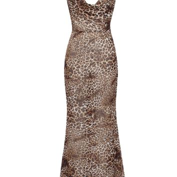 Macy Draped V Neck Backless Halter Cheetah Print Chiffon Dress