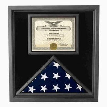 Premium USA-Made Solid wood Flag Document Case Black Finish Hand Made By Veterans