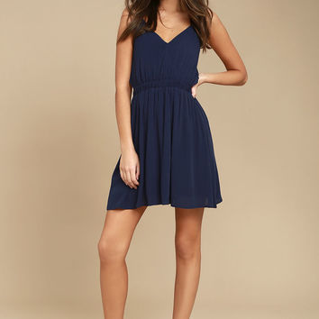 Here's to the Good Times Navy Blue Skater Dress