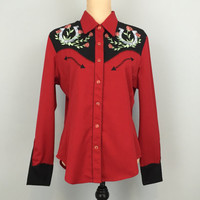 Women Show Clothing Horse Show Medium Western Show Cowgirl Rodeo Rockabilly Shirt Red Black Free Shipping Size 8 Size 10 Women Clothing