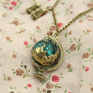 The globe with Telescope necklace vintage style by tamaraflying