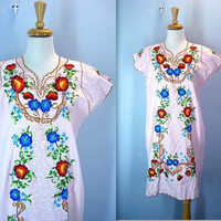 80s Pink Dress / Vintage Mexican Embroidered Dress / Summer Dress