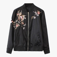 Black Floral Embroidery Oversized Nylon Jacket