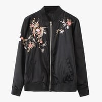Black Floral Embroidery Bomber Jacket