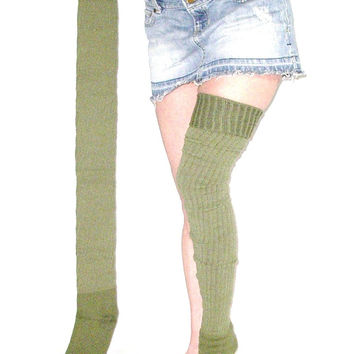 "Super Long Thigh High Socks Olive Army Green Ribbed Thick Winter Over The Knee Boot Socks 37"" Extra Long"