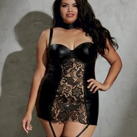 Plus Size Faux Leather And Lace Garter Dress