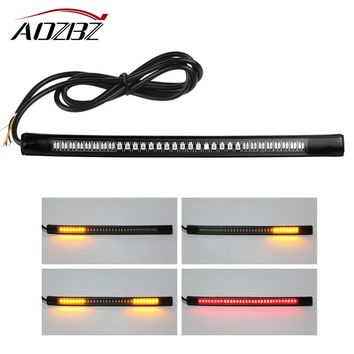 "8"" Universal Flexible LED Motorcycle Brake Lights Turn Signal Light Strip 48 Leds License Plate Light Flashing Tail Stop Lights"