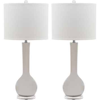 Safavieh Mae Long Neck Ceramic Table Lamps (Set of 2) (Set Of 2) - White