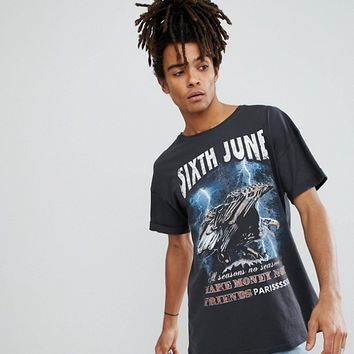 Sixth June Oversized T-Shirt In Black With Eagle Print at asos.com