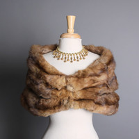 50s Genuine SABLE Fur STOLE / Plush Brown Wrap