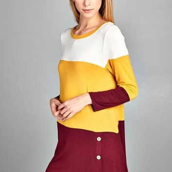 Color Block Front Button Tunic - Mustard