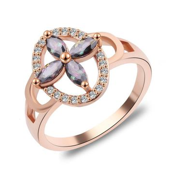 Four Leaves Clover Rainbow Mystic Topaz Ring