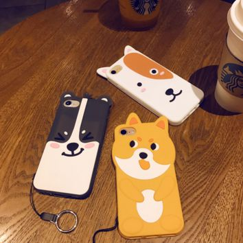Animal Silicone Case For iPhone 6S 6PLUS Marc Fashion 3D Cartoon Cute Soft Shell For iPhone 7 7PLUS 5g 5s cases Cover-0410