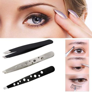 Professional Beauty Stainless Steel Tweezers Hair Tool