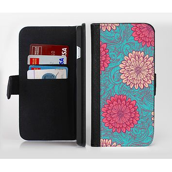 The Pink & Blue Floral Illustration Ink-Fuzed Leather Folding Wallet Credit-Card Case for the Apple iPhone 6/6s, 6/6s Plus, 5/5s and 5c