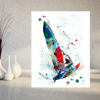 Windsurfer watercolor print windsurfing man poster windsurfer illustration sport art windsurf painting print wall art home decor gift [901]