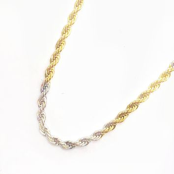 ON SALE - 18 inch Alternating Two Tone Stainless Steel Rope Chain