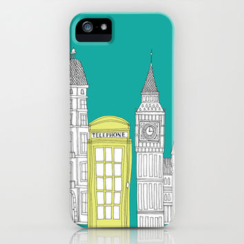 London - City prints // Red Telephone Box iPhone & iPod Case by Bluebutton Studio