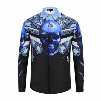 Mens Shirt Long Sleeve Print Blue Skull Covered Button Polyester Slim Fit