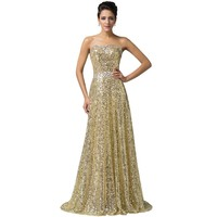 Luxury Gold Sequins Formal Gowns