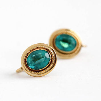 Screw Back Earrings - Vintage 14k Yellow Filled Faceted Oval Teal Blue Glass Stones - Retro 1950s Mid Century Unique Clip On Amco Jewelry