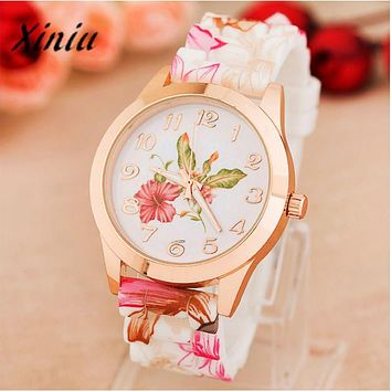 Xiniu Watch Women Quartz Watch Rose Flower Print Silicone Watches Floral Jelly Watches For Women Girls Relogio Feminino #YB