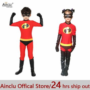 Ainclu 24hrs Out The Incredibles Costume for kids High Elastic Lycra Spandex Bodysuit Second Skin Suit Child Cosplay Costumes