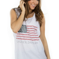 Lauren James: Seersucker Flag Tank {White}