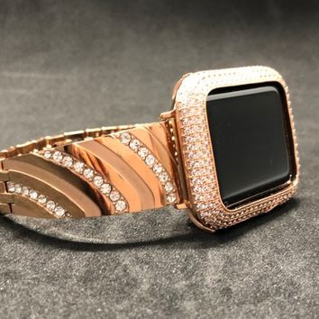 Apple Watch Band 38mm 40mm 42mm 44mm Rose Gold Womens Mens Sterling Rhinestone Crystal/ Lab Diamond Bezel Case Cover Iced Out Iwatch Bling
