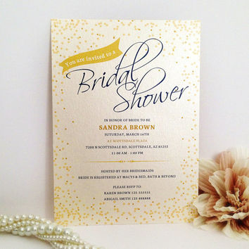 Script bridal shower invitation printed on luxury cream/white pearlescent paper - Glitter glam luxury wedding invite - Gold and royal blue