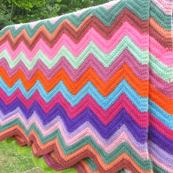 "Colorful crochet afghan blanket throw in chevron pattern - Multicolored chevron crochet afghan 65"" x 52"""