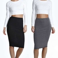 Cate Two Pack Basic Jersey Viscose Midi Skirt