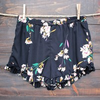 final sale - floral print navy frill shorts