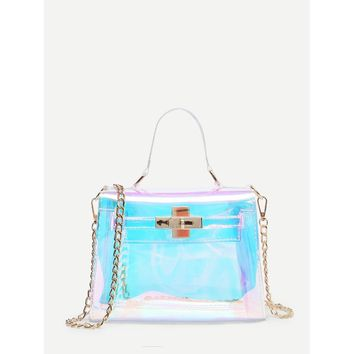 Iridescence Clear Satchel Bag/Purse