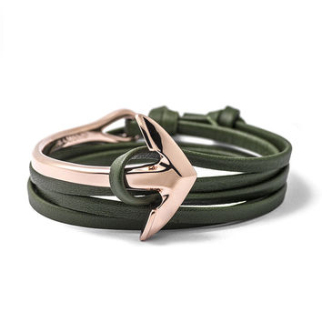 Rose Gold Anchor Half-cuff On Hunter Green Leather Bracelet