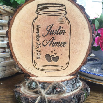 Mason Jar Wedding Cake Topper, Rustic Cake Topper, Engraved Topper, Wood Slice Cake Topper, Custom Cake Topper, Country Barn Wedding Topper