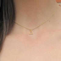 SHOP SALE - Minimalist Triangle Charm Necklace 24k Gold Plated Chain