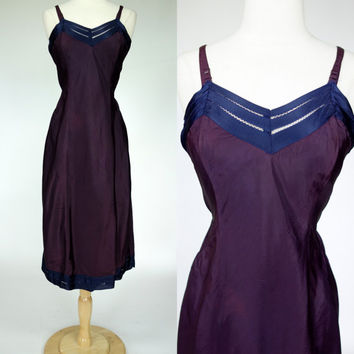 1950s purple slip w/ blue trim, satin texture nylon negligee nightgown lingerie, XS
