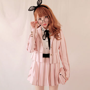 2016 NEW Fashion Vintage Preppy style Full sleee Pink&Purple Vertical Stripe Jacket Juniors High school Students Girls Blazers