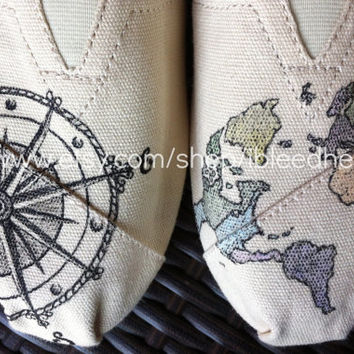 Adult - Travel Compass and Colored World Map - Custom Painted TOMS Shoes