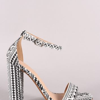 Tribal Print Ankle Strap Open Toe Chunky Heel