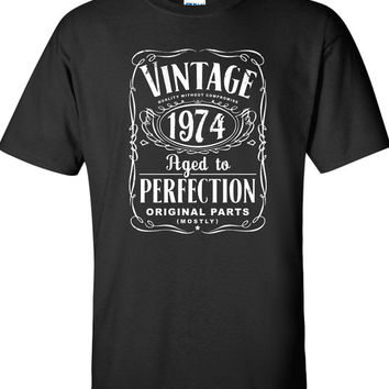 40th Birthday Gift For Men and Women - Vintage 1974 Aged To Perfection Mostly Original Parts T-shirt Gift idea. More colors available S-16