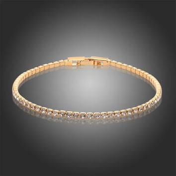 6 colors Gold Plated Cluster Rhinestones Crystals Slim Tiny Tennis Chain Bracelets Jewelry for Women Girls Pulseira feminina