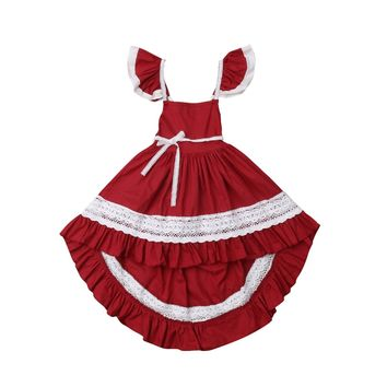 Sweet Kids Girl Lace Flare Sleeves Asymmetrical Dress Princess Pageant Wedding Party Formal Toddler Strap Dress Sundress 1 to 6Y