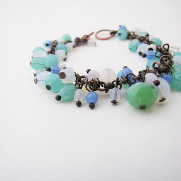 Pastel beaded bracelet. Tender fashion. Mint pastel pink bracelet