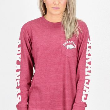 Arkansas Razorbacks Sleeve Print L/S Tee {Dk. Red}