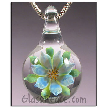 SALE - Lampwork Pendant Glass Flower Jewelry focal necklace bead - Glass Peace glass jewelry (4961)