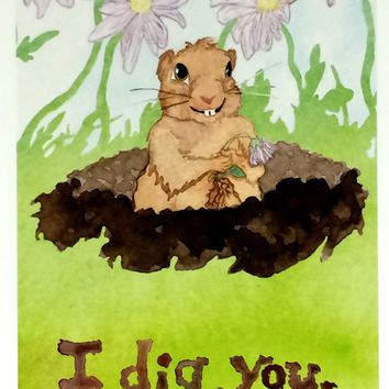 Pack of Twenty Romantic Animal postcards, 20 pack Cute Gopher Postcards, I Dig You Watercolor Flowers Postcard, Valentines Day Postcard